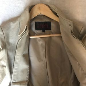 Beige Leather (100%) Jacket
